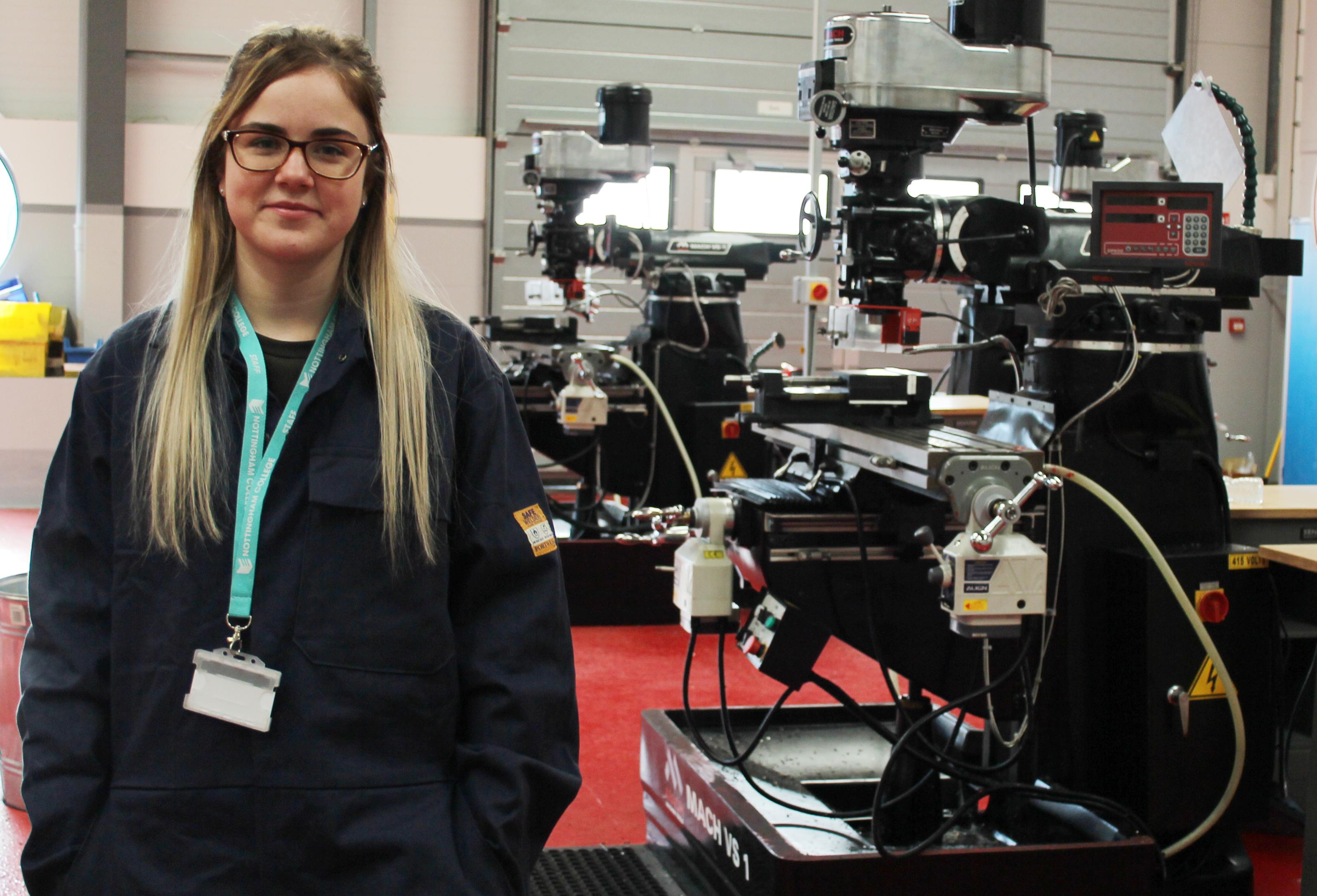 Chloe Nunn in a Nottingham College Engineering workshop